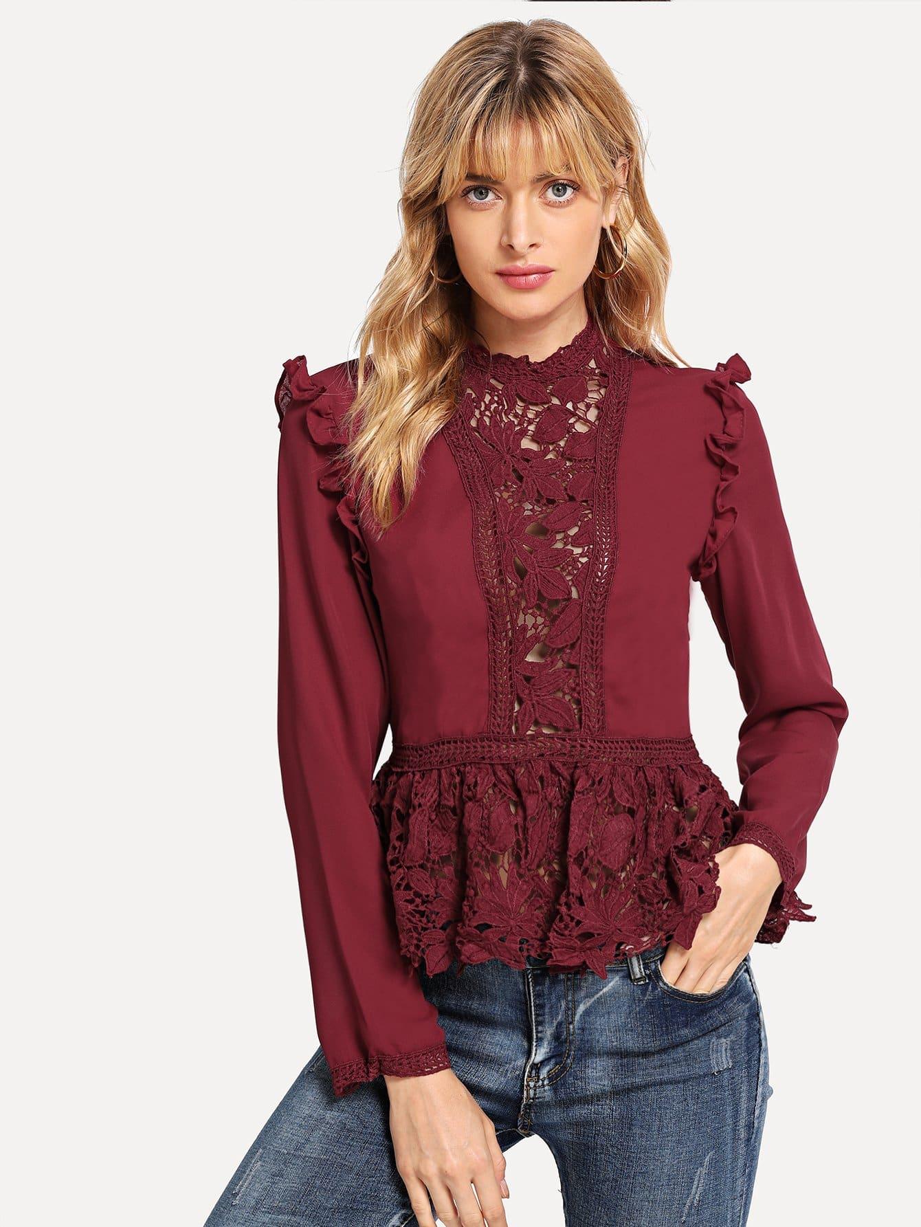 Купить Peplum блузка с кружевами и плечо со складками, Masha, SheIn