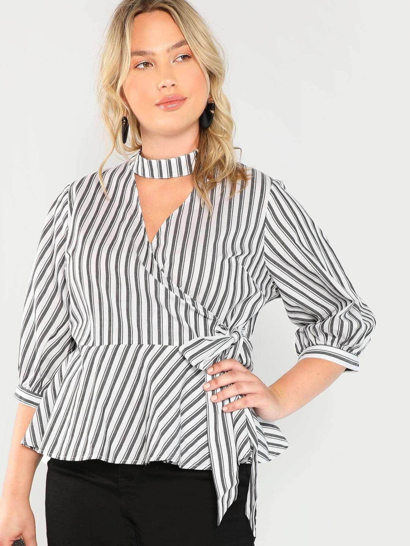 Купить Большая тонкая полосатая рубашка с V-образным вырезом, Sydney Ness, SheIn