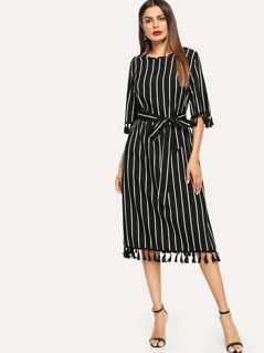 Tassel Embellished Keyhole Back Striped Dress