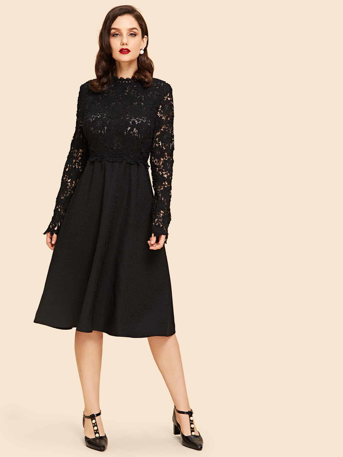 Contrast Lace Sheer Flare Dress защита паха мужская green hill gens csg 6048 белая