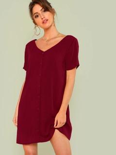 V Neck Button Up Solid Dress