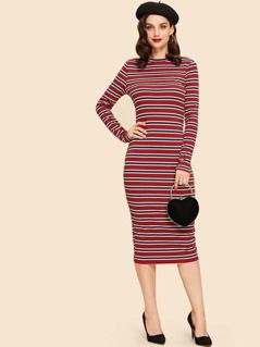 Striped Print Slim Fitted Dress
