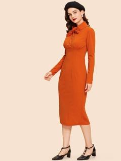 Button Half Placket Bodycon Dress