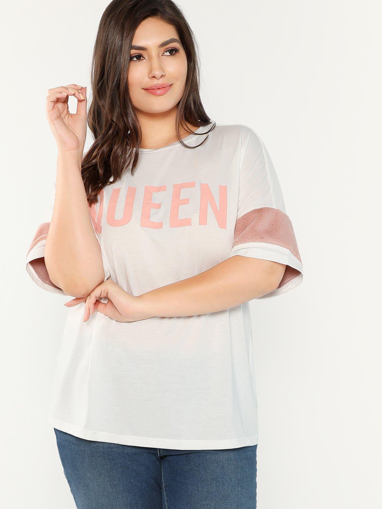 Купить Плюс размеры футболка с текстовым принтом, Elisa Krug, SheIn