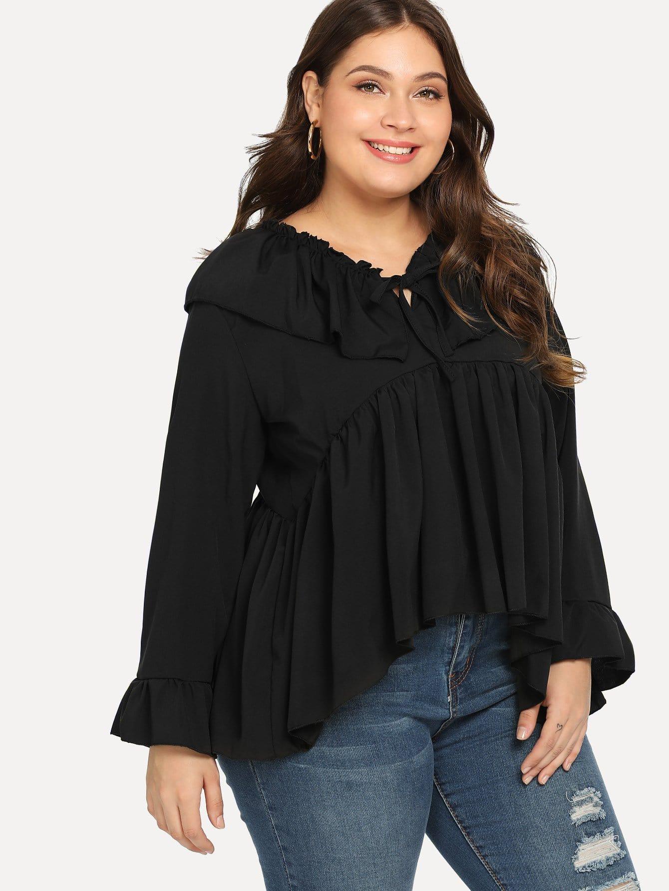 Купить Большая простая блуза с кружевными оборками, Carol, SheIn