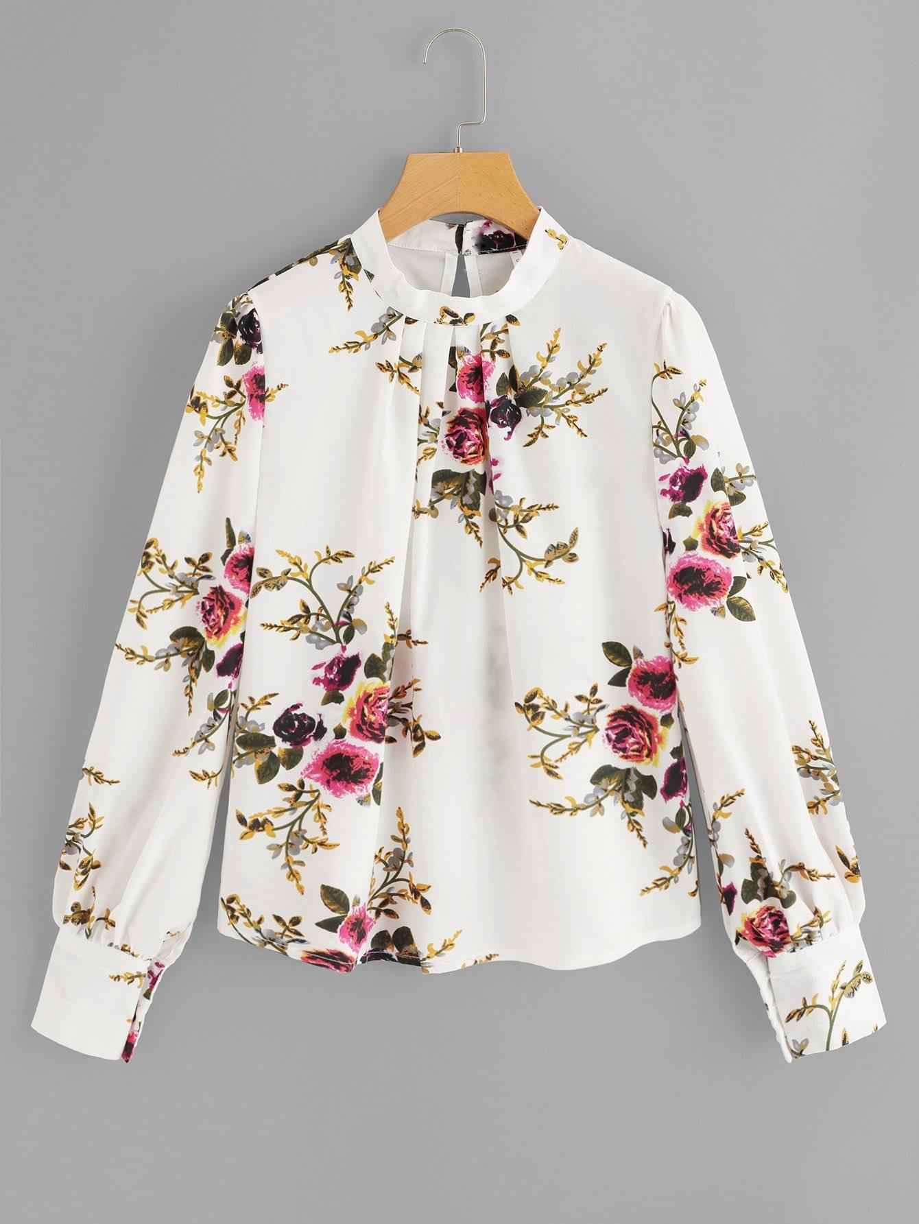 Bishop Sleeve Floral Print Blouse Sheinsheinside