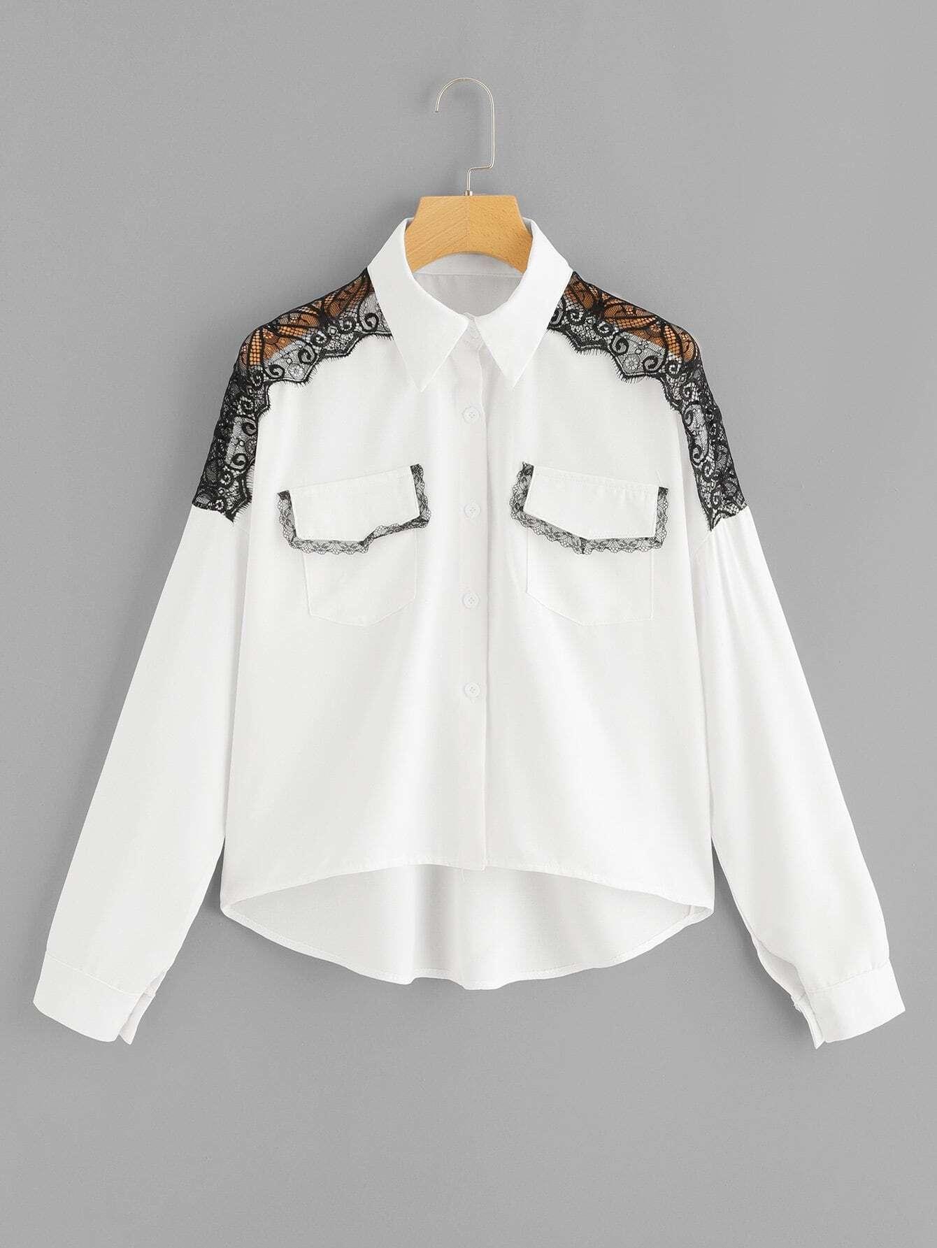 Купить Кружевой отделкой блузка с асимметричным низом, null, SheIn