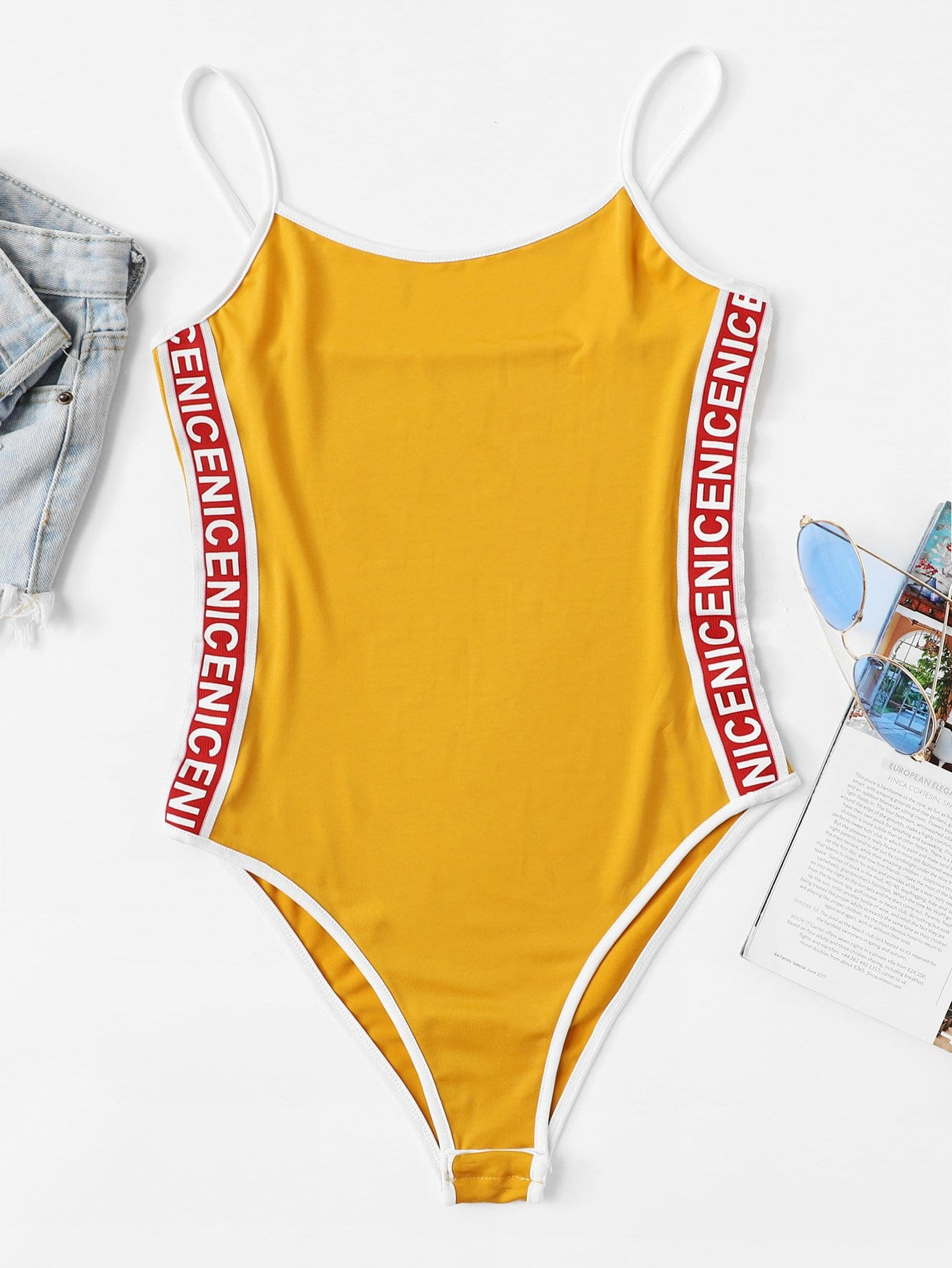 Plus Letter Print Tape Side Cami Bodysuit