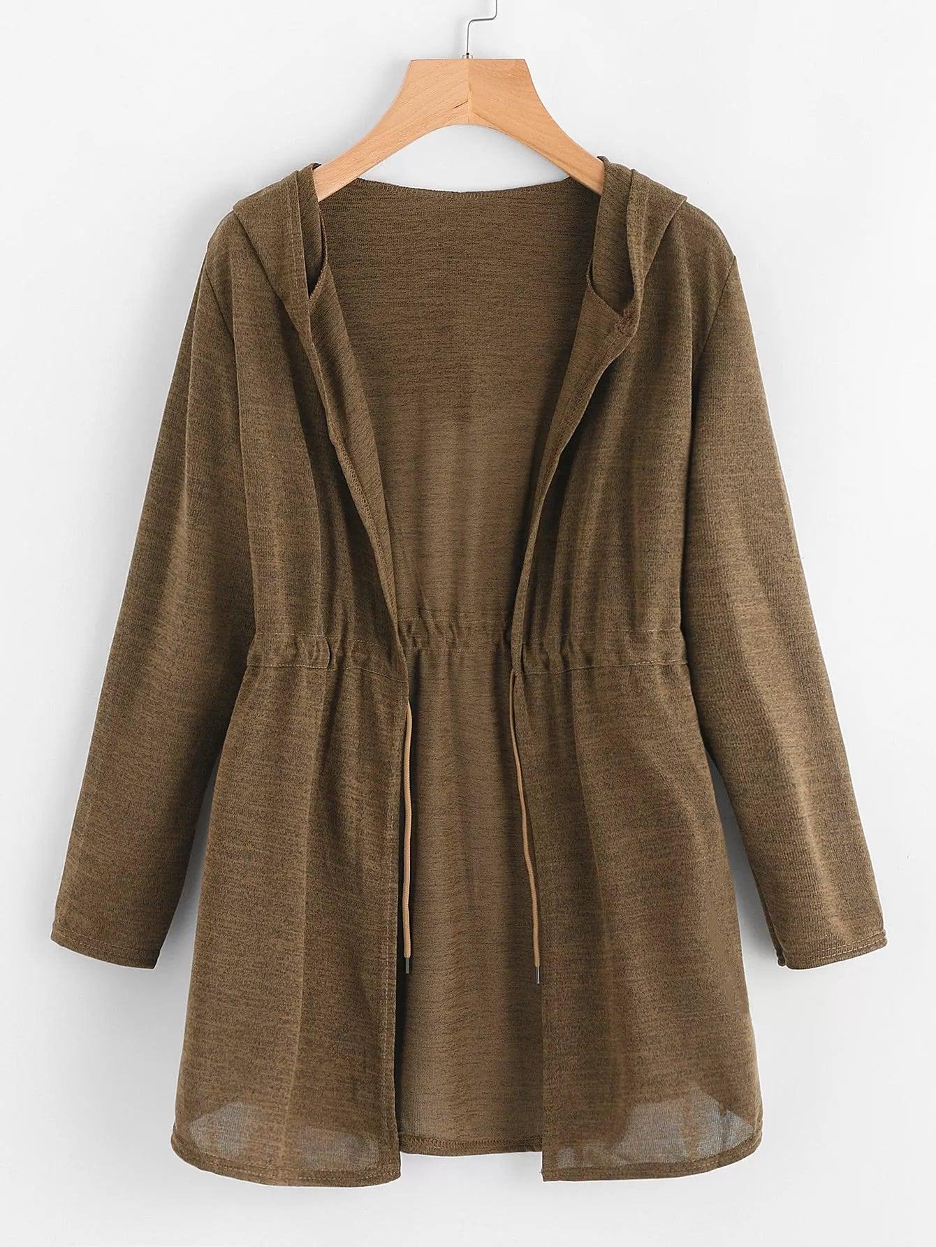 Купить Большое простое пальто с капюшоном и басоном эластичным, null, SheIn