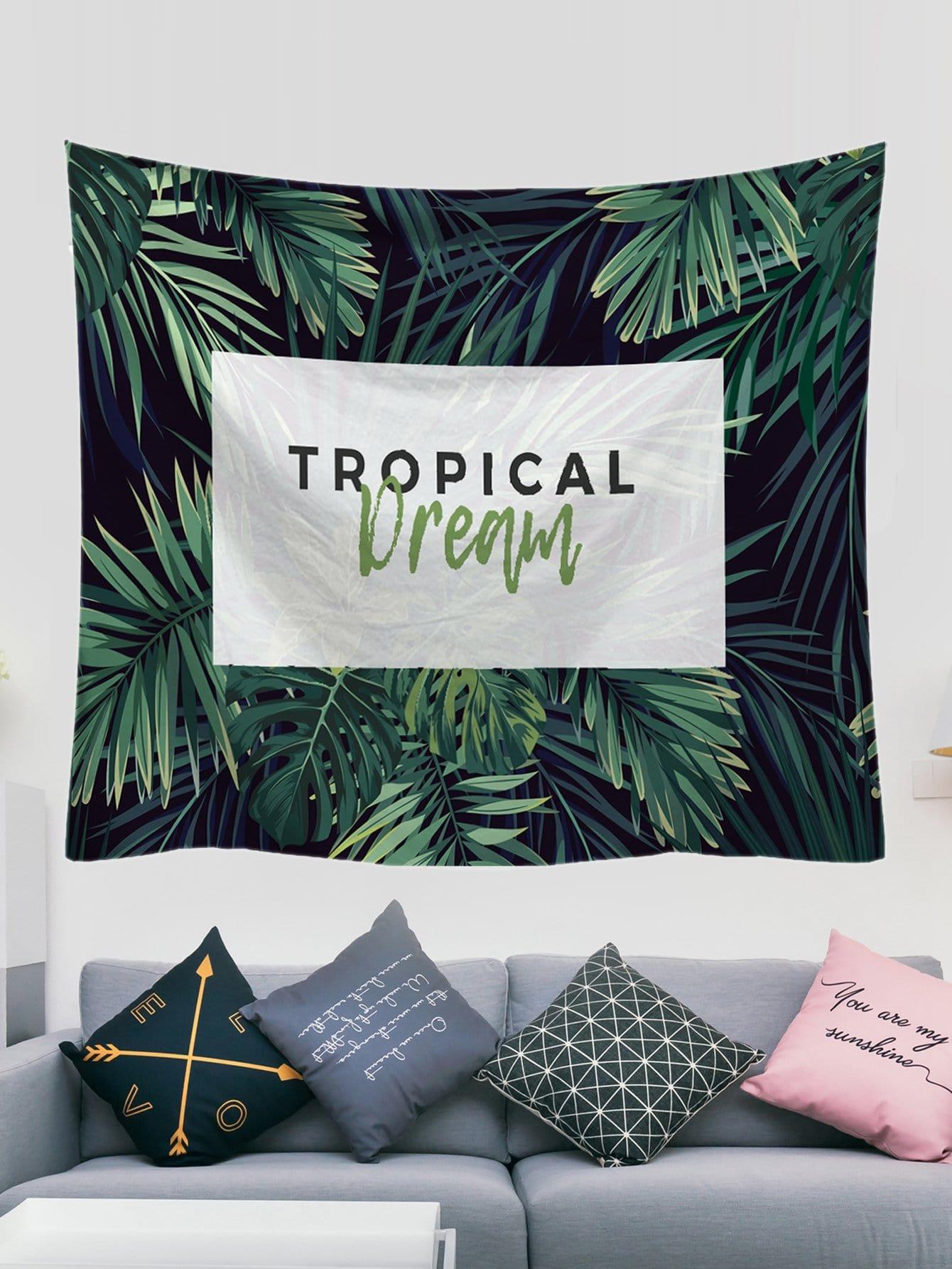 Купить Гобелен с рисунками тропических растений, null, SheIn
