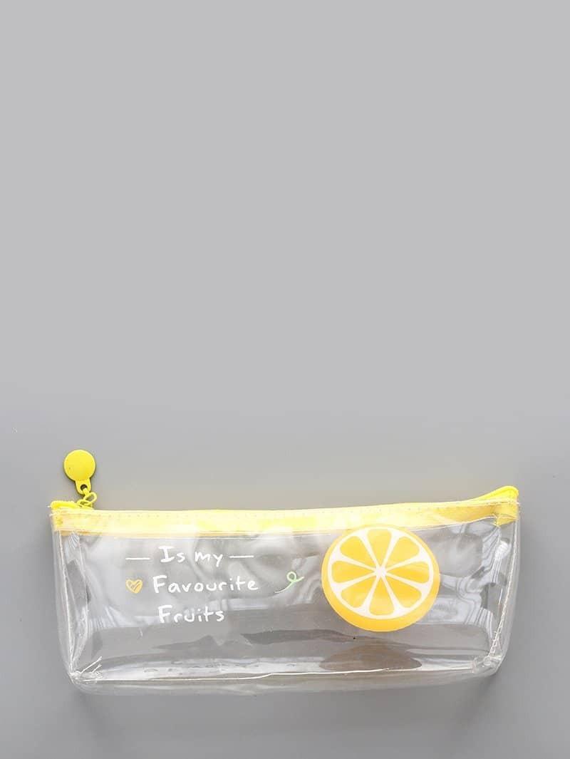 Купить Прозрачный пенал для карандашей с рисунком апельсина, null, SheIn