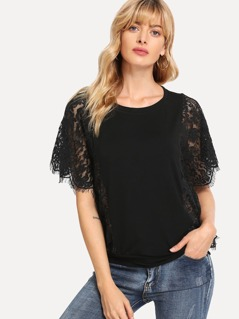 Cut And Sew Lace Panel Top