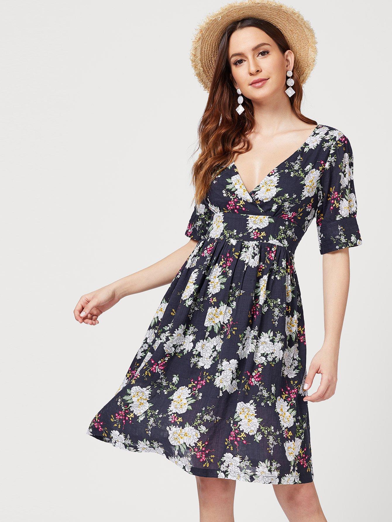 Купить Платье для печати V-образным вырезом, Jana, SheIn