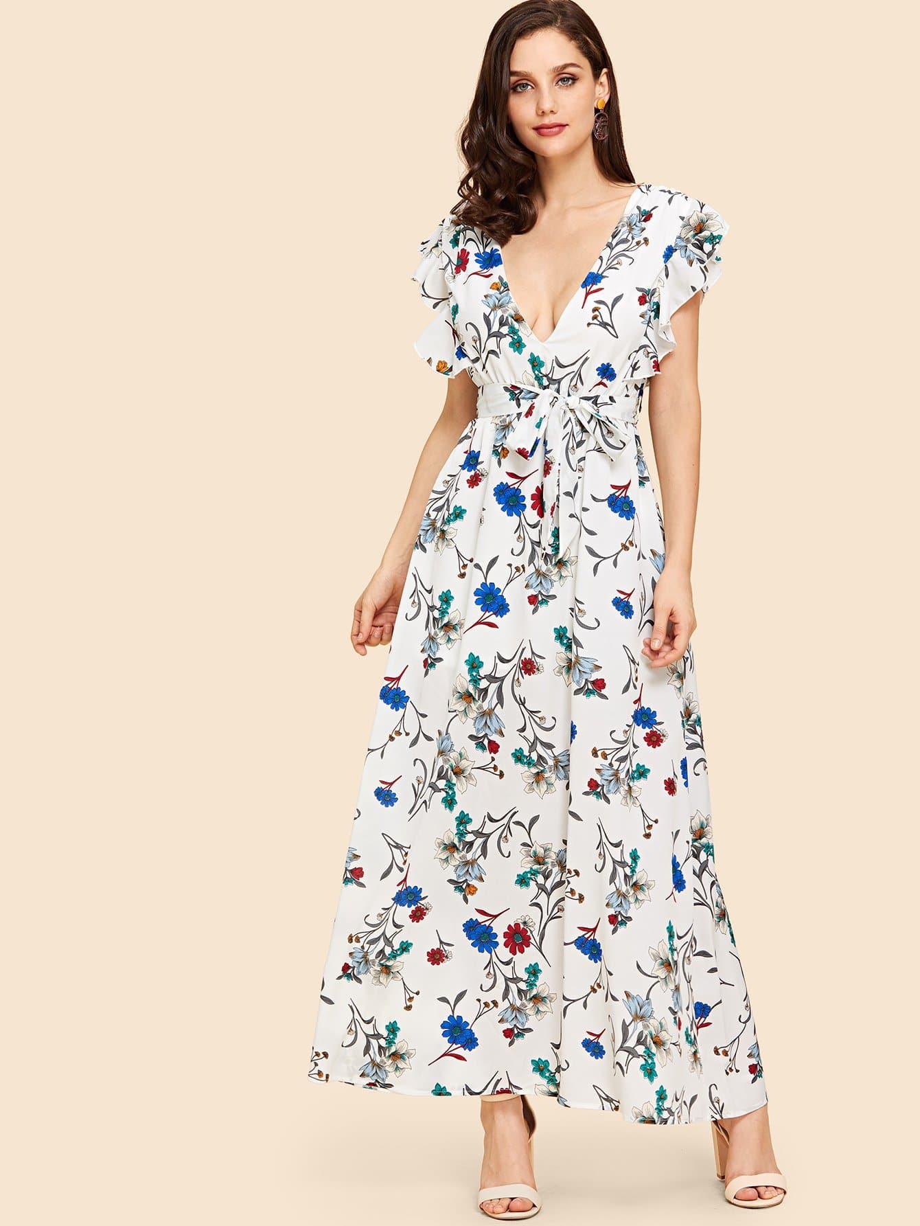 Купить Платье с поясным поясом, Julie H., SheIn