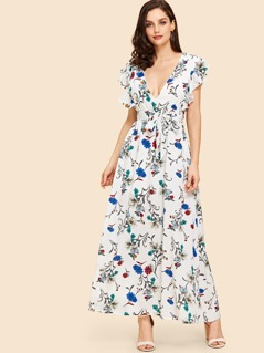 Waist Belted Zip Back Floral Dress