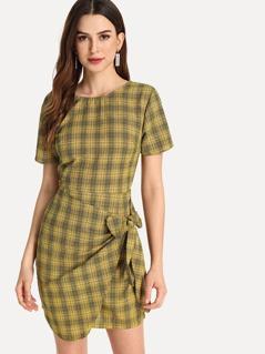 Knot Side Plaid Dress