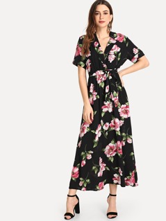 Deep V Neck Flower Print Dress