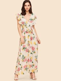 Ruffle Armhole Self Tie Floral Maxi Dress