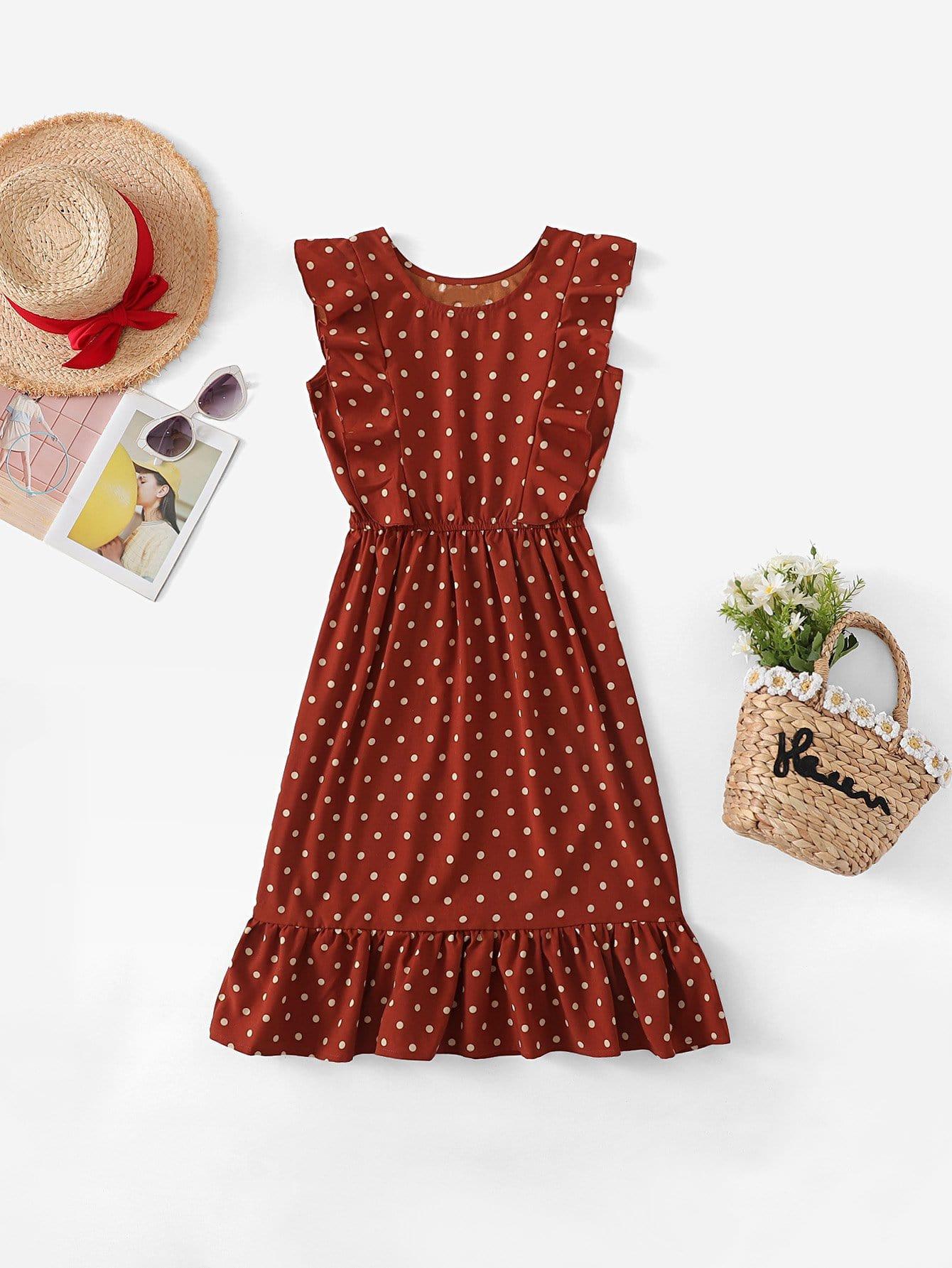 Купить Платье с кружевными оборками и с рисунками точки для девочки, null, SheIn