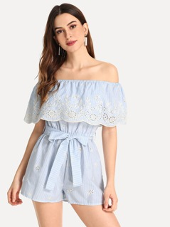 Off Shoulder Embroidered Eyelet Belted Striped Jumpsuit