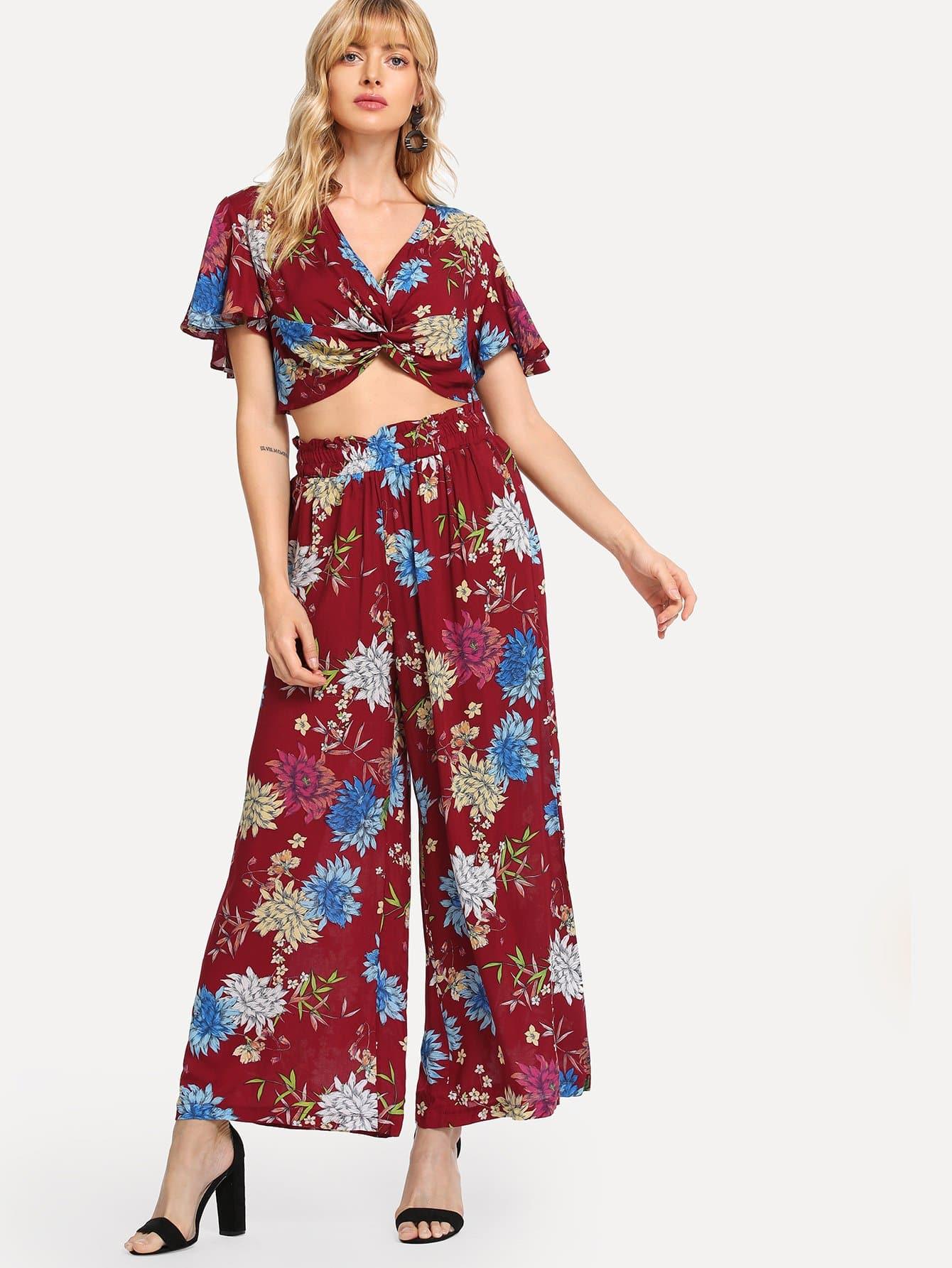 Купить Комплект закройкой блузки и с рисунками растений и с Twist перед одежды и брюки, Masha, SheIn