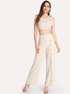 Button Detail Striped Cami Top & Pants Set