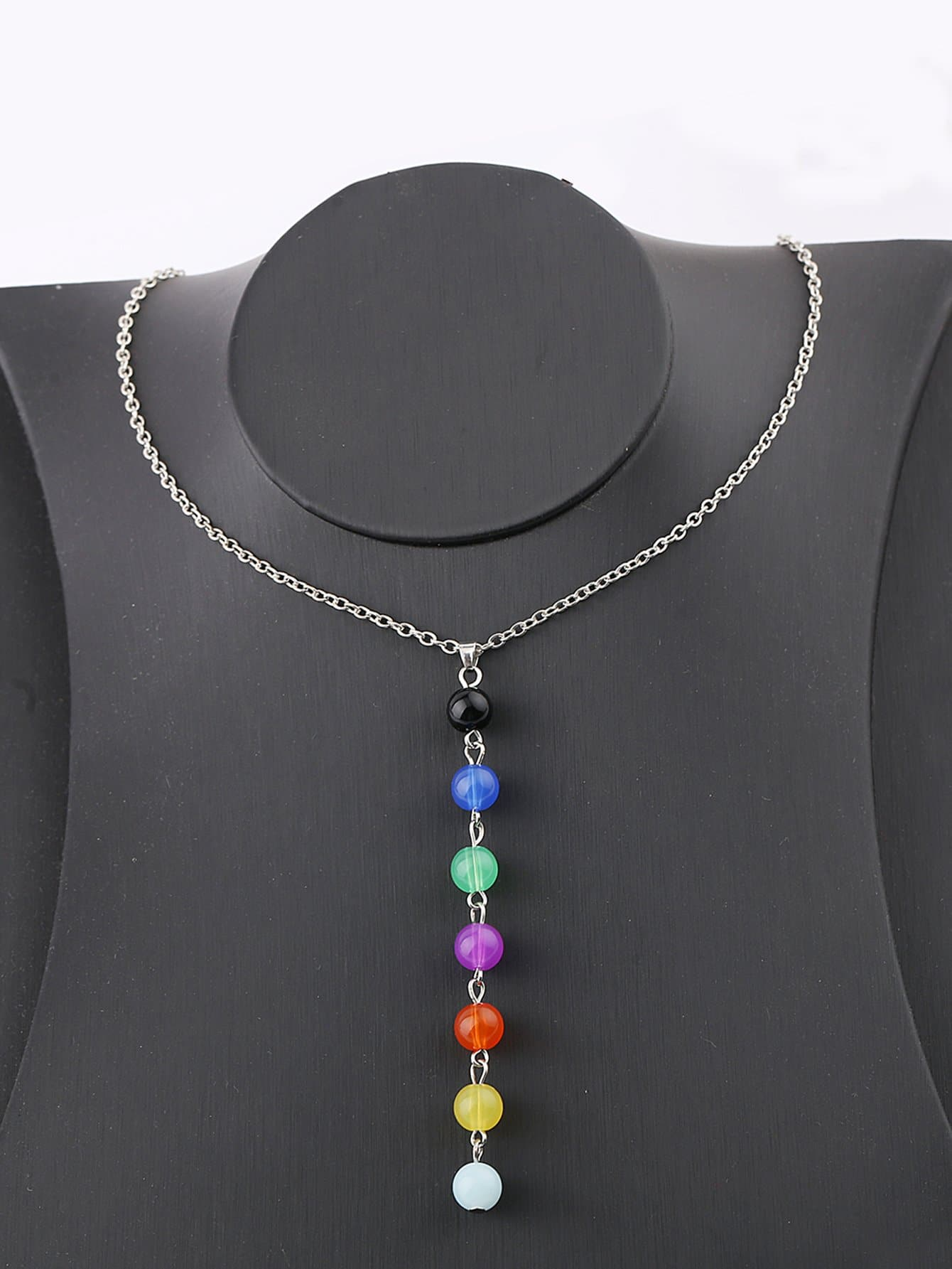 Color Block Beaded Pendant Chain Necklace