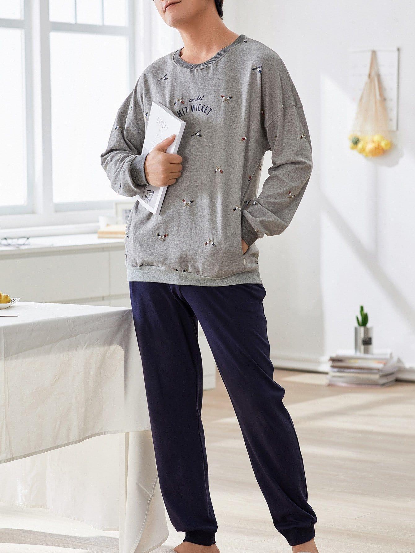Купить Комплект пижамы с рисунками мультипликаций и буквы для мужчины, null, SheIn