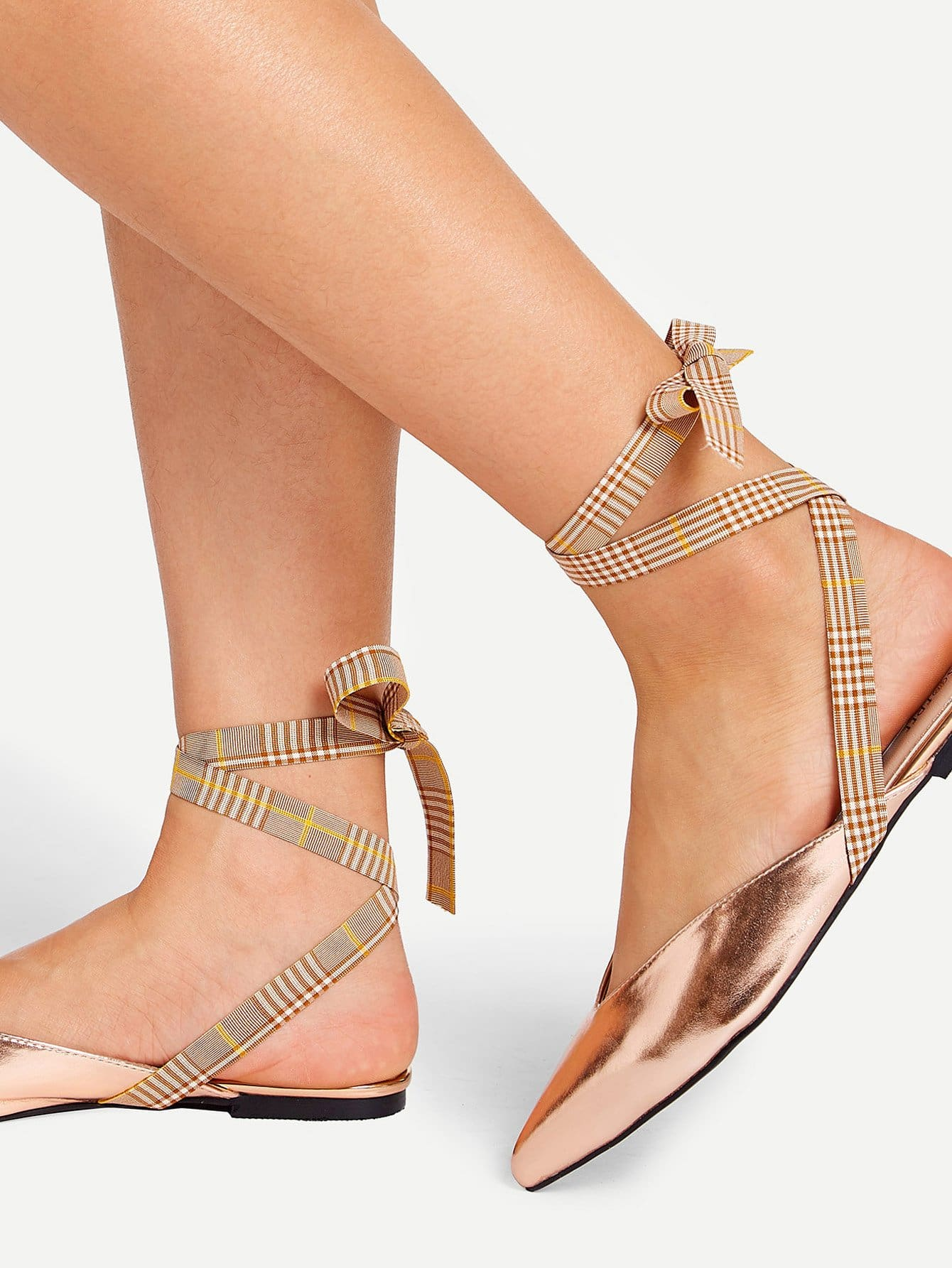 Lace Up Pointed Toe Mule Flats