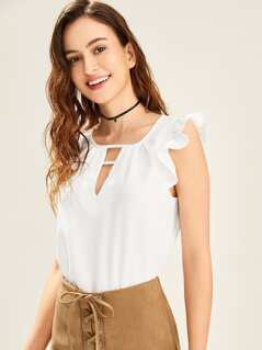 V Cut Ruffle Sleeve Shell Top