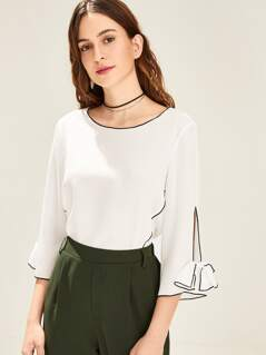 Contrast Tipping Bow Embellished Cuff Blouse