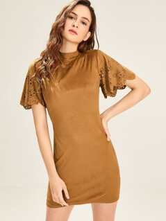 Cut Out Mock Neck Tunic Dress