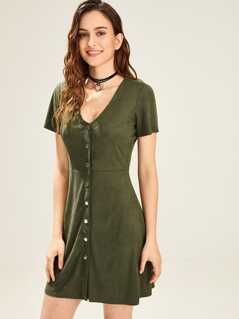 Short Sleeve Button Up Dress