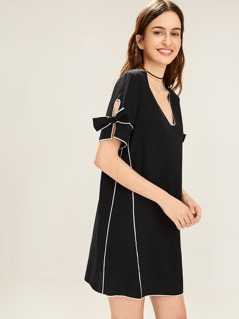 Contrast Tipping Bow Tied Cuff Blouse
