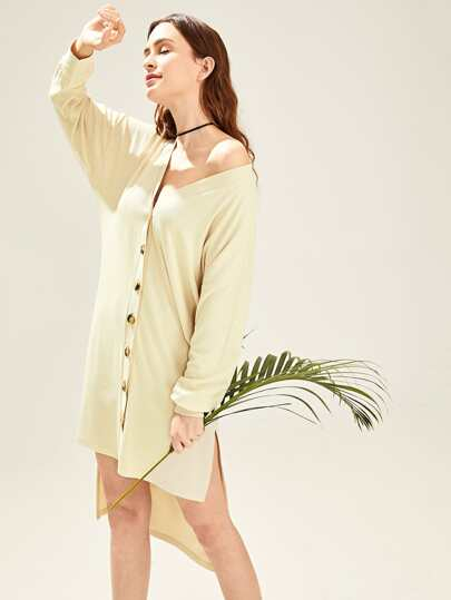 Button Up Front Ribbed Longline Coat