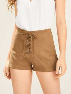 Lace Up Front Solid Suede Shorts