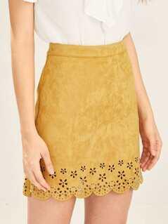Scalloped Laser Cut Hem Suede Skirt