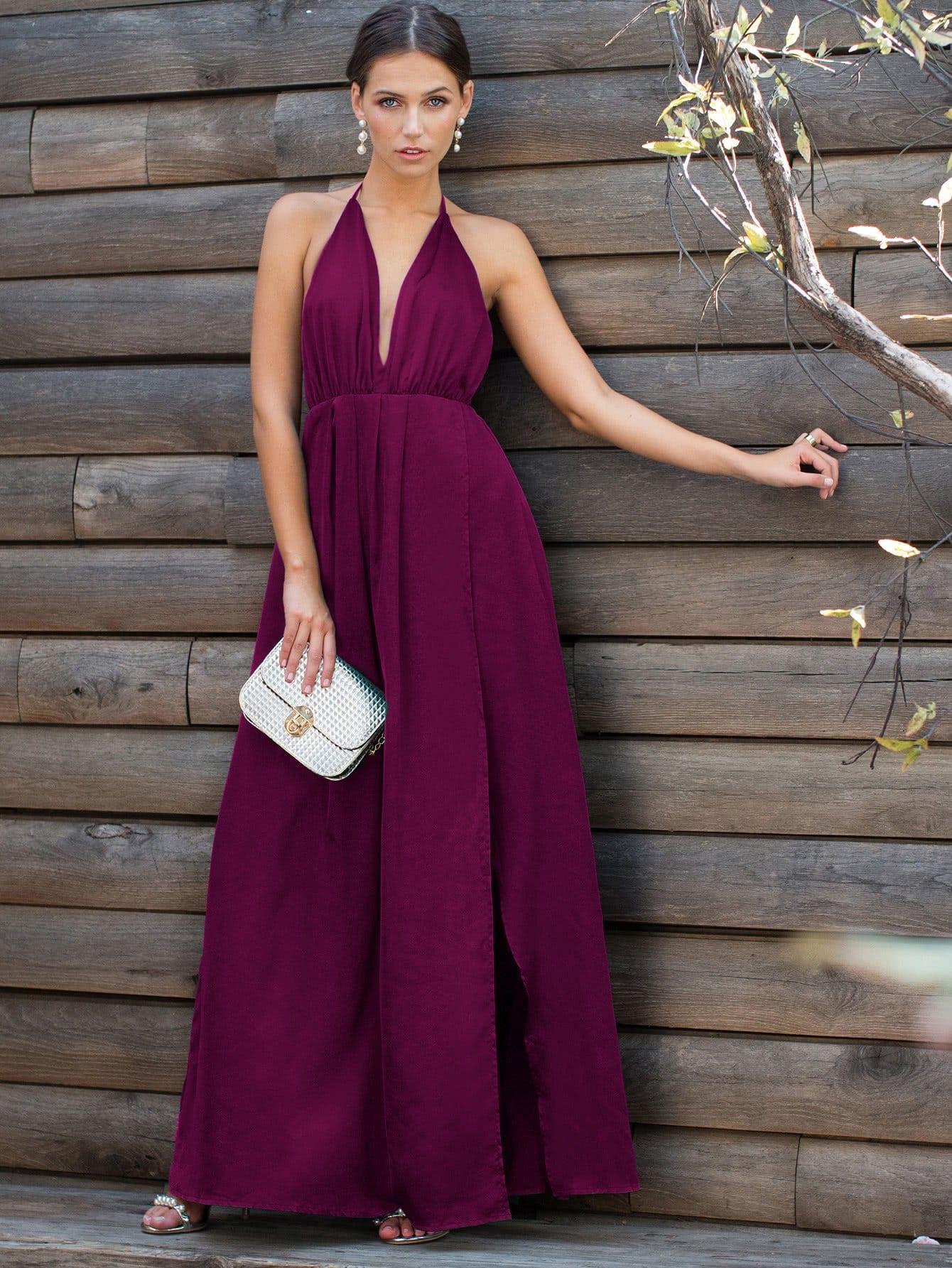 Купить Разделение платье с глубоким вырезом крест накрест назад, Zorana, SheIn