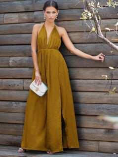 Plunge Neck Crisscross Back High Slit Wrap Cami Dress