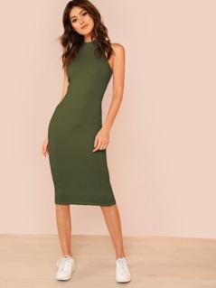 Mock Neck Rib Knit Pencil Midi Dress