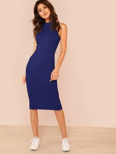 Mock Neck Rib Knit Midi Dress