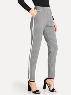 Elastic Waist Slant Pocket Striped Pants