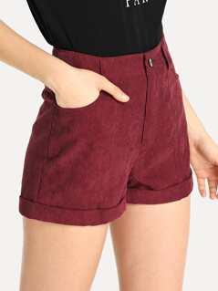 Roll Up Hem Corduroy Shorts