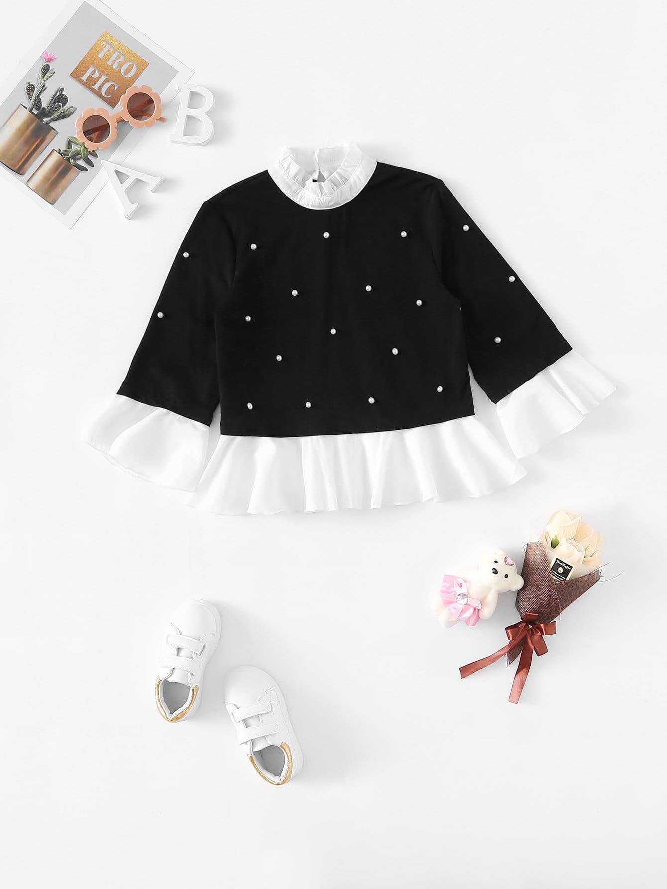 Купить Асимметричная блуза с украшением жемчугов для девочки, null, SheIn