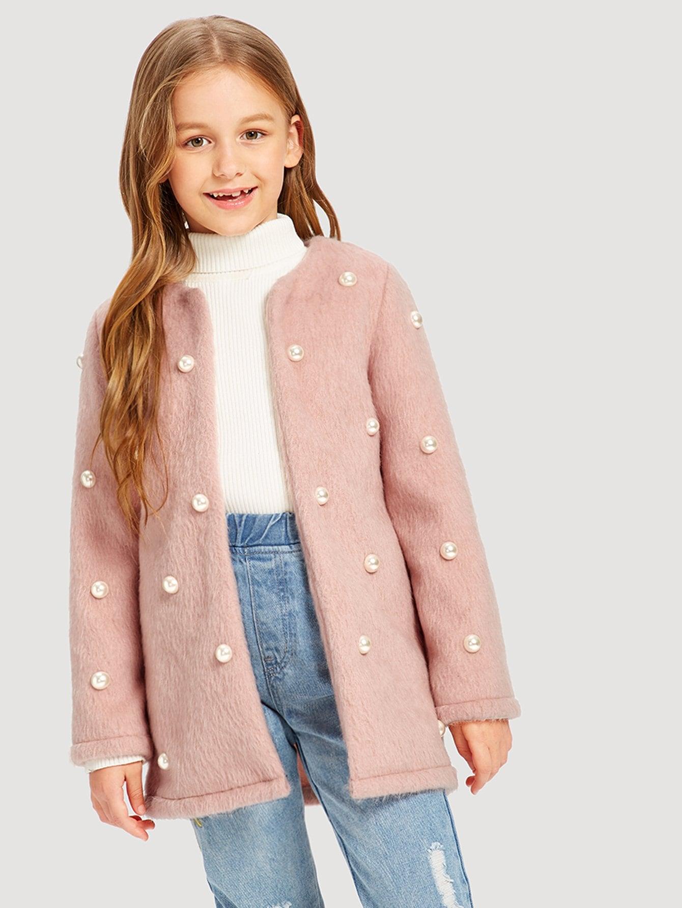 Купить Для девочек тедди пальто из искусственного меха с бисерами, Sashab, SheIn