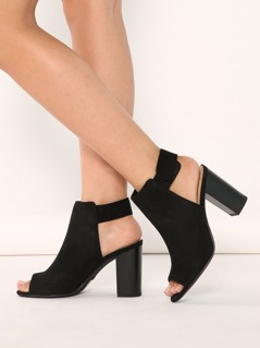 Faux Suede Open Toe Side Buckle Bootie