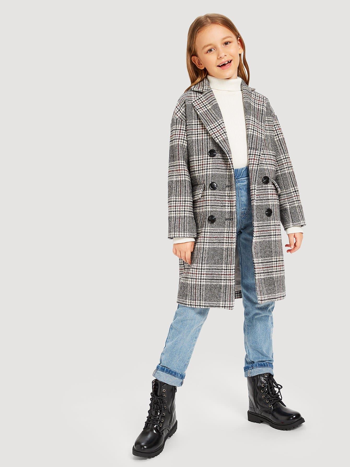 Купить Двубортное пальто в клетку и с карманами для девочки, Sashab, SheIn