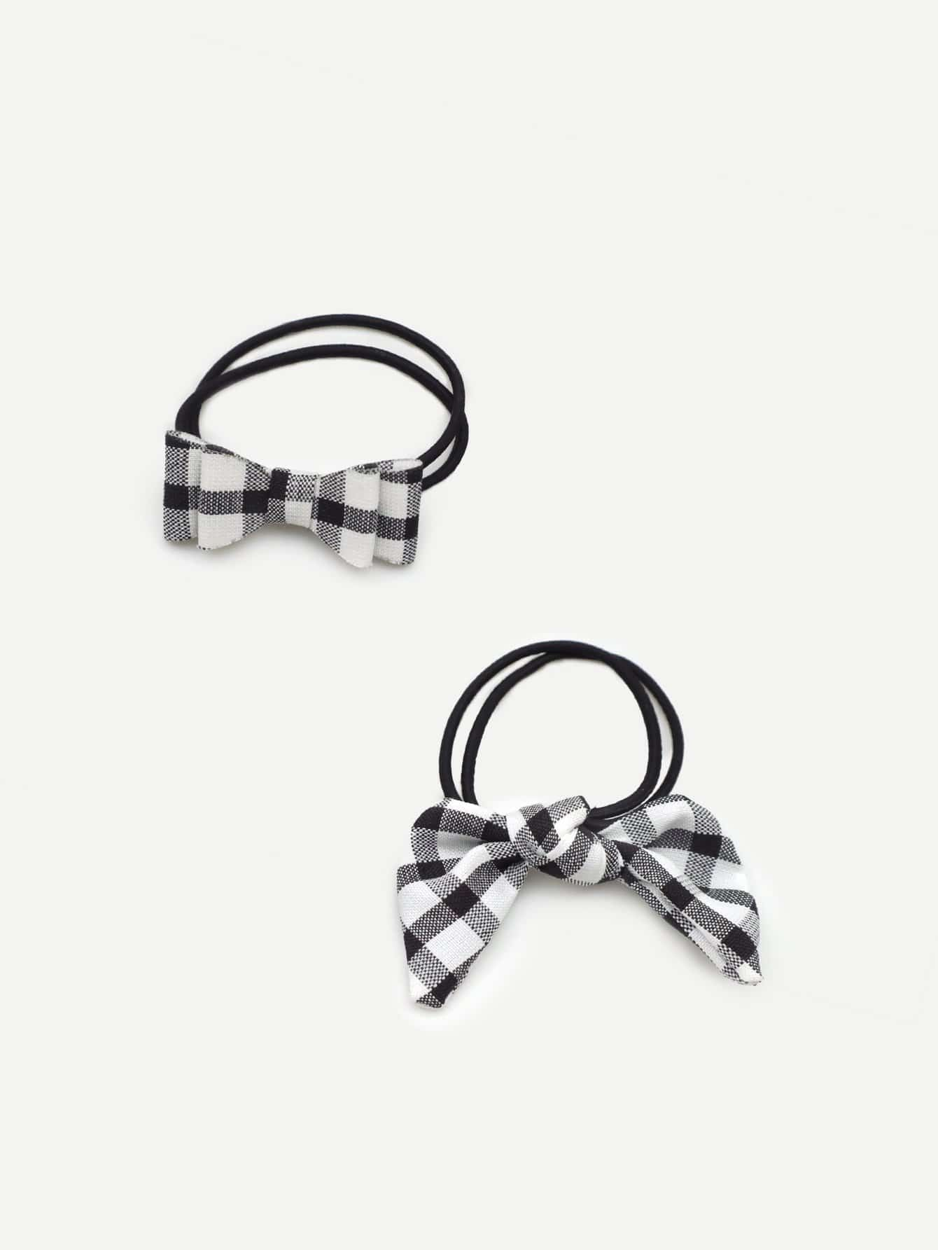 Girls Bow Decorated Gingham Hair Tie 2pcs