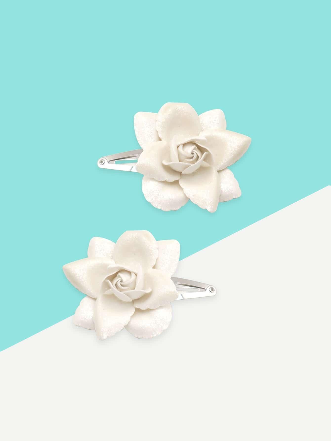 Купить 2 шт. цветочный украшенный заколки для волос для девочек, null, SheIn