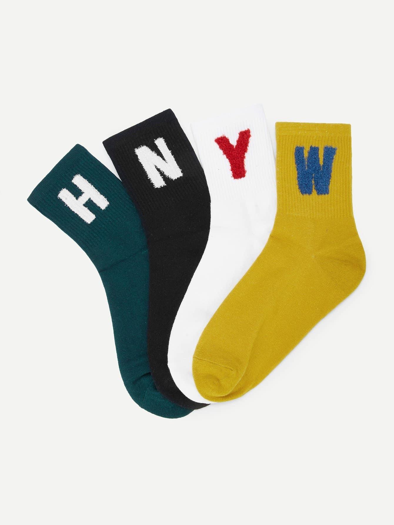 Socken 4 Paare mit Buchstaben Muster